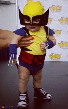 My son raizo, is old. He is wearing the baby wolverine costume. Me and his dad made him. Baby Superhero Costume, Cute Baby Costumes, Baby Halloween Costumes For Boys, Baby First Halloween, Superhero Birthday Party, Super Hero Costumes, Boy Costumes, Easy Halloween, Halloween Treats