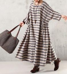 Custom made Women Maxi Dress Cotton Linen Dress Plus size Dress Loose Dress Summer Dress Dress Plus Size, Plus Size Maxi Dresses, Large Size Dresses, Casual Dresses, Dresses With Sleeves, Summer Dresses, Boho Fashion, Fashion Dresses, Hijab Stile