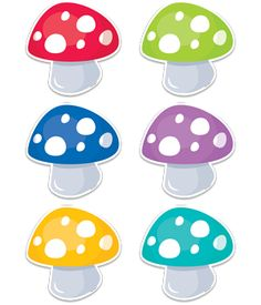 "Colorful Toadstools 6"" Designer Cut-Outs bring a bit of outdoor whimsy to your classroom. The playful design is perfect for a variety of classroom themes and displays including camping, nature, outdoors, science, gardening, gnomes and more."