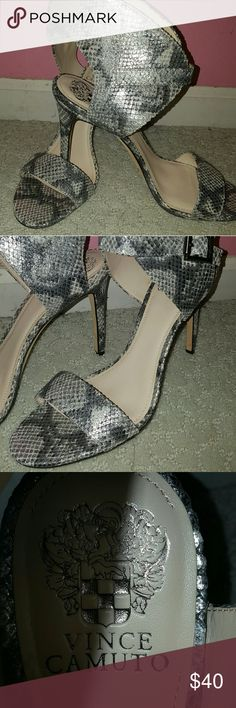 """Vince Camuto Tarma Heels New genuine Vince Camuto Tarma sandals. 4"""" inch heels, strap around the ankle, snake print with leather soles. I have them posted in black as well.  These are lovely 👠 Vince Camuto Shoes Sandals"""