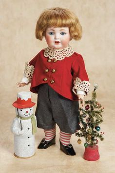 by Kley and Hahn with Christmas Tree and Snowman Candy Container circa 1915