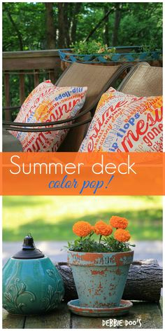 Summer patio porch decorating ideas. #diy #deck flower pot makeovers and more