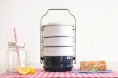 Emaille voedselcontainers en Warmer, emaillewerk Tiffin, voedsel vervoerder, Kockums picknick & maaltijd vliegdekschip, emaillewerk voedsel Container met Warmer