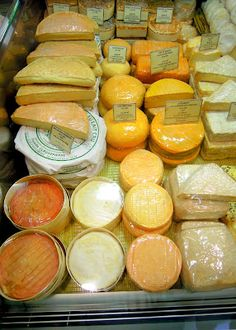 A display of stinky cheeses (washed rind) in Strasbourg, France