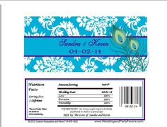 Purple & Turquoise Peacock Damask Wedding Candy Bar Wrapper Wed 650 WP
