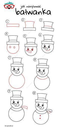 Jak Narysować Bałwanka - Instrukcja Krok Po Kroku #jakrysowac #edusiaki #naukarysowania #rysowaniedladzieci #diydladzieci Malu, Art Drawings Sketches, Bullet, Winter, Diy, Christmas, Winter Time, Bricolage, Do It Yourself