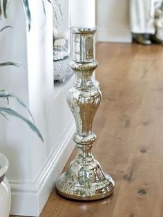 Giant Mercury Glass Floor Stand Candle Holder