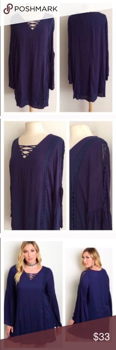 """(Plus) Blue boho dress Blue boho dress. 100% rayon. This has minimal stretch, but it is slightly oversized. Fully lined XL: L 36"""" • B 44"""" 3x: L 37"""" • B 48"""" ⭐️This item is brand new with tags 💲Price is firm unless bundled ✅Bundle offers Availability: XL•3x • 3•1 Dresses Long Sleeve"""