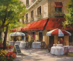 """""""Cafe Soleil"""" 20 x 24 oil on canvas by Paul Guy Gantner Pictures To Paint, Art Pictures, Naive Art, Abstract Oil, Watercolor Cards, French Art, Watercolor Landscape, Home Decor Wall Art, Art Sketchbook"""