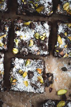 Chunky Dark Chocolate Coconut and Pistachio Brownies