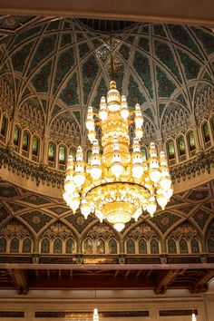 Measuring 14 meters, there are 600,000 shimmering Swarovski crystals and 24 carat gold plating in this chandelier in the main prayer hall of the Grand Mosque of Muscat in Oman. To see more intricate details and images of the mosque, read the article.