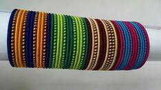 Silk Thread Bangles Design, Silk Bangles, Thread Jewellery, Fabric Jewelry, Resin Jewelry, Crystal Jewelry, Jewelry Bracelets, Silver Jewelry, Simple Jewelry