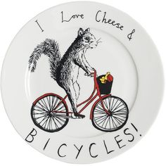Jimbobart 'I love Cheese & Bicycles' Side Plate ($38) ❤ liked on Polyvore featuring home, kitchen & dining, dinnerware and bone china