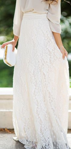 *Urban Outfitters white lace maxi skirt~I think this would be better with a T-shirt and casual shoes. Take the formal out and put the fun it!