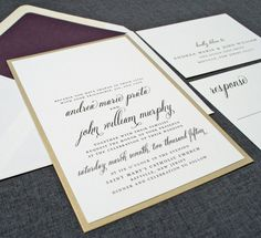Andrea Wedding Invitation  Metallic Gold by CricketPrinting