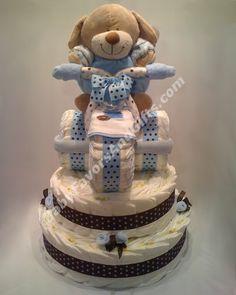 Unique diaper cakes #babyshower BabyFavorsAndGifts.com Unique Diaper Cakes, Diy Diaper Cake, Diaper Crafts, Baby Crafts, Baby Shower Cakes, Baby Shower Parties, Baby Shower Gifts, Baby Wedding, Homemade Baby