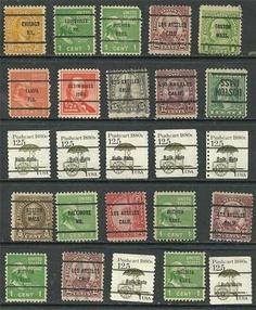 25 Stamps #642 -10¢ Monroe, #653 - 1/2¢ Hale, bureau PreCancels MD, KANS.