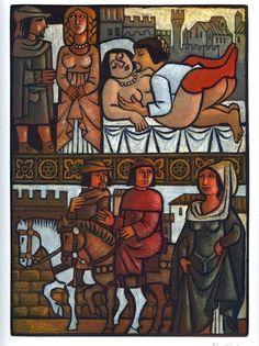 El Decamerón de Giovanni Boccaccio, con grabados originales de Celedonio Perellón - Jornada VI. Novela tercera: Doña Nonna de los Pulci, con una pronta respuesta, impone silencio a las nada honestas chanzas del obispo de Florencia. http://www.arsliber.com/bibliofilia/el-decameron-giovanni-boccaccio-celedonio-perellon/sexta-jornada-el-decameron/