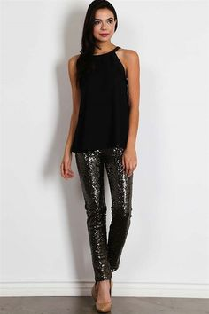 Sequined Legging Pant - Black | Black Classy and Comfy