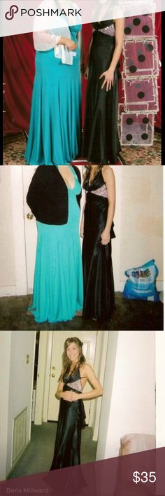 Prom Dress Black with light purple shiny rhinestones under breast area. Backless elegant dress. This was worn 10 years ago. Has been in my closet ever since. Will answer more questions/provide more info/pics upon request. Thanks for looking! Dresses Prom