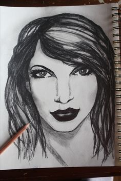 """My first Drawing of Taylor Alison Swift she's an American singer-songwriter. One of the most popular contemporary female recording artists, she is known for narrative songs about her personal life, which has received much media attention. Even though I rather pick Lady gaga as a singer over her ( My opinion )  I heard her song """"I knew you were trouble when you walked in"""" and I changed my mind and Drew her for the first time .. Artwork by ASPENN F 12/20/2016 She Song, Taylor Alison Swift, Horse Art, American Singers, Lady Gaga, My Drawings, My Arts, Artists, Songs"""