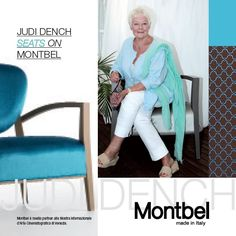 Actress Judy Dench seats on a Montbel Cameo Maxi armchair at the 2013 venice International Film Festival  #JudiDench #Venice #VeniceFilmFestival #Montbel #cinema
