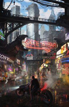 33 Ideas For Science Fiction Illustration Fantasy Art Future City Cyberpunk City, Ville Cyberpunk, Cyberpunk Kunst, Cyberpunk Aesthetic, Futuristic City, Fantasy Landscape, Fantasy Art, Sci Fi Stadt, Sci Fi City