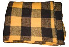 Black Check Wool Blanket