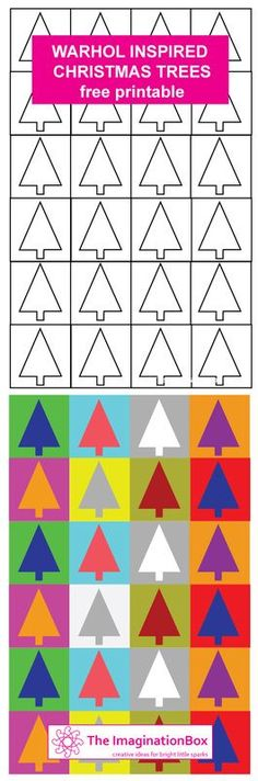 Xmas Trees - Warhol inspired free printable - make your own cards, tags, gift wrap whilst exploring colour and shape art design landspacing to plant Christmas Art For Kids, Christmas Art Projects, Winter Art Projects, Noel Christmas, Christmas Activities, Printable Christmas Cards, Xmas Cards, Printable Tags, Gift Cards