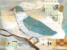 Pretty Bird ©Barbara Olsen Acrylic/collage on canvas