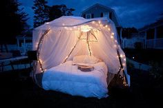 A romantic outdoor bed