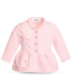 BABY DIOR - Pale pink tricot knit cardigan