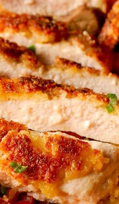 Parmesan Crusted Chicken, pan-fried chicken breast, skillet fried breaded chicken, perfect with pasta as a weeknight dinner or in chicken salads Fried Breaded Chicken, Parmesan Crusted Chicken, Baked Chicken, Parm Chicken, Chipotle Chicken, Chicken Broccoli, Easy Chicken Recipes, Raw Food Recipes, Cooking Recipes