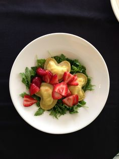 Ricotta-Filled Heart Shaped Raviolis over Marinated Arugula with White Balsamic Glazed Strawberries    *Recipe by Chef Shelby at the Country Club of Terre Haute