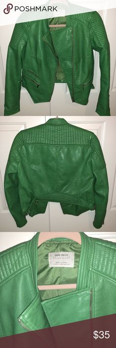 Zara Faux Leather Jacket Zara green faux leather moto jacket! In excellent condition worn a handful of times, looks brand new! Size Medium—-works for a size small as well! Zara Jackets & Coats