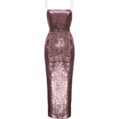 Rasario Camisole Sequin Gown found on Polyvore featuring dresses, gowns, pink, sequin dress, red gown, red camisole, pink sequin dress and pink camisole