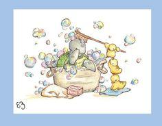 Bubble Bath. PRINT 8X10. Nursery Art Wall Decor by LoxlyHollow