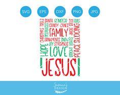 Christmas Words SVG, Christmas Word Collage, Jesus Svg, Peace, Sledding, Stockings, Christmas Trees, Reindeer, Jingle Bells, Cricut, Dxf