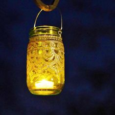 Mason Jar Lantern Morrocan Style Silver Detailing on by LITdecor, $28.00
