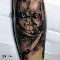 Forarm Tattoos, Skull Tattoos, Body Art Tattoos, Chucky Tattoo, Clown Tattoo, Horror Movie Tattoos, Creepy Tattoos, Name Tattoos For Moms, Mom Tattoos