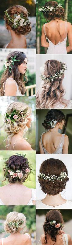 Lockige Brautfrisuren mit Blumen in den Haaren