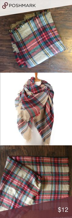 "Large Plaid Blanket Scarf Product Dimensions (IN): Length- 59"" x Width- 59""/Product Material: Cashmere-like Acrylic. Colors: red, green, light blue, tan, navy.  Extremely soft and warm over-sized plaid blanket shawl wrap scarf poncho. Wrap the shawl freely around any outfit and it will keep you warm all day long. I bought a similar scarf from Madewell and like it better. Great condition, only used once. Has been washed. Accessories Scarves & Wraps"