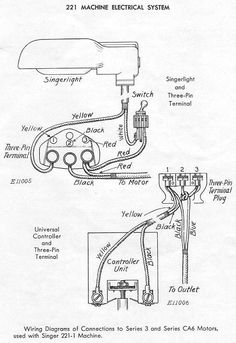 generic wiring diagram for the motor light power cord and rh pinterest com singer sewing machine motor wiring diagram