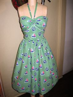 40s dress halter seersucker nautical Sail Away Ready by nudeedudee, $185.00