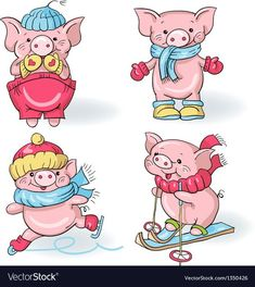 Best Ideas for funny cartoons vector Funny Cartoon Images, Funny Cartoons, This Little Piggy, Little Pigs, Pig Illustration, Illustrations, Super Funny, Funny Cute, Pig Drawing
