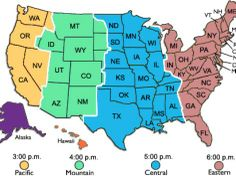 Click On Map To Learn About Best Times To Call In USA With All - Us time zone map with times