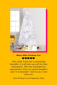 See what our customers Dave & Marge had to say about our Winter White Christmas Tree! ❄️ Write us a review and get the chance to be featured. 👀 #Treetopia #FanFriday #ChristmasTree #happycustomer #UniqueTree #Colorful #Decor #DIY #Fall #August #FallSeason #Summer # #Design #Craft #Unique #Style #Quirky #Tree #Christmas #Fun #Cute #FunDesign #CuteDesign #Idea #FunIdea #DoItYourself White Christmas Trees, Christmas Fun, Unique Trees, Summer Design, Winter White, Fall Season, Colorful Decor, Cute Designs, Pure Products