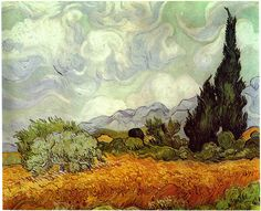 """""""Cornfield With Cypresses""""  --  1889  --  Vincent van Gogh  --  Dutch  --  Oil on canvas  --  National Gallery  --  London"""