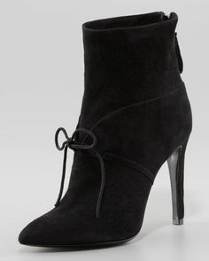 Suede+Ankle-Tie+Bootie,+Black+by+Giorgio+Armani+at+Neiman+Marcus.