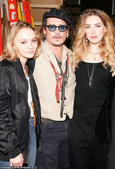 Lily-Rose Depp, Johnny Depp, and Amber Heard